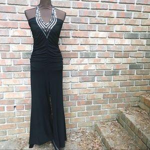 [Boutique] Black Silver Sequin Halter Jumpsuit
